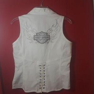 Harley Davidson White Women's Vest